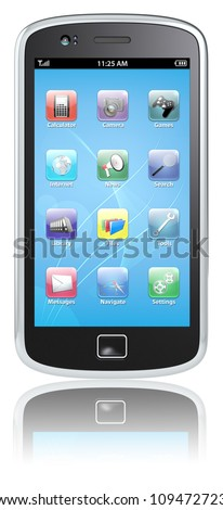Smartphone. Black Smartphone, blue screen with icons. Isolated. - stock photo