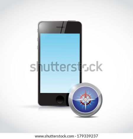 smartphone compass illustration design over a white background - stock photo
