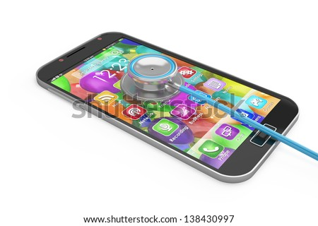 Smartphone concept: smart phone and stethoscope, first aid isolated - stock photo