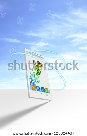 Smartphone 3D illustration with dynamic curves and flying email - stock photo
