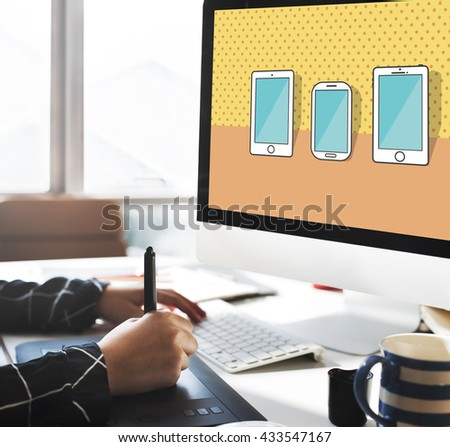 Smartphone Devices Wireless Mobile Cellphone Concept - stock photo