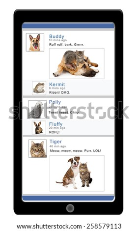 Smartphone displaying a social media website with funny pet profiles and comments - stock photo