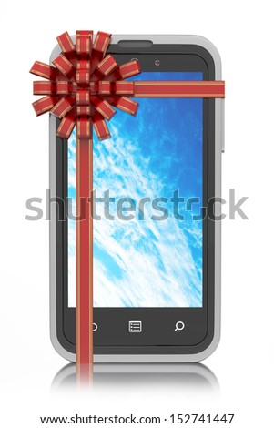 Smartphone gift tied with ribbon - stock photo