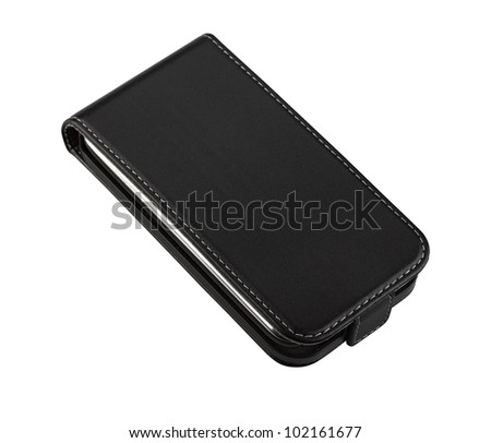 Smartphone in leather case isolated on white background, clipping path - stock photo