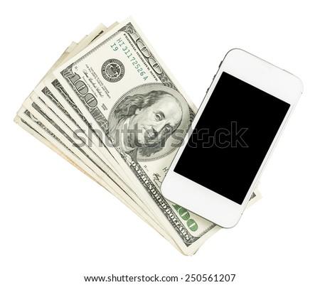 Smartphone lying on the United States dollars, isolated on a white background - stock photo
