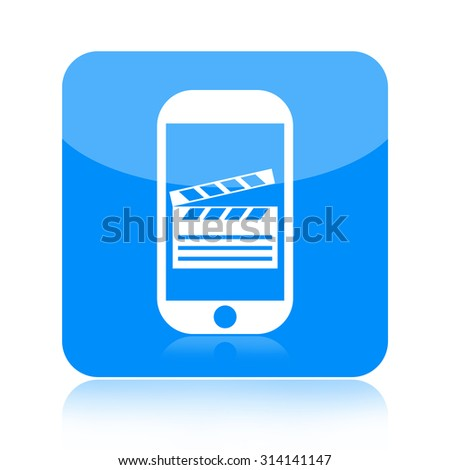 Smartphone movie icon - stock photo