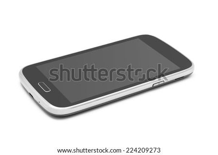 smartphone on white background closeup - stock photo