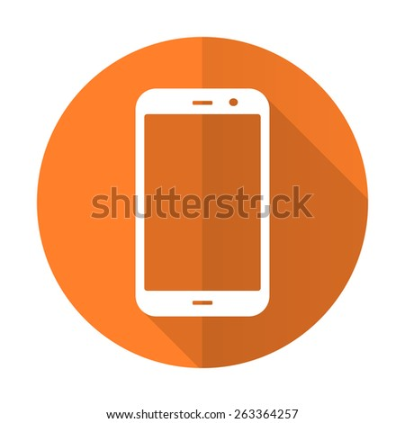 smartphone orange flat icon phone sign  - stock photo