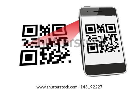 smartphone QR code scan - stock photo