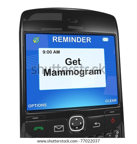 Smartphone reminder, mammogram - stock photo
