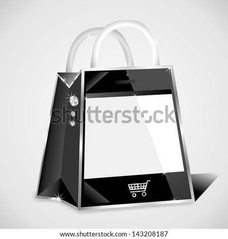 smartphone shaped shopping bag with empty screen - stock photo