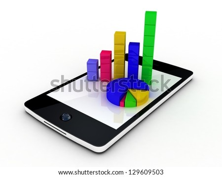 Smartphone showing a spreadsheet and a paper with statistic charts, surrounded by some 3d charts - stock photo