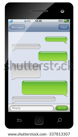 Smartphone sms chat template with copy space. - stock photo