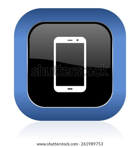 smartphone square glossy icon phone sign  - stock photo