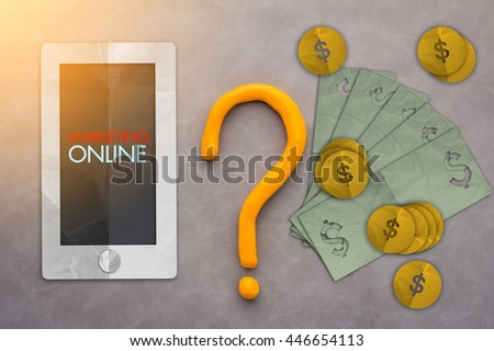 smartphone wallet with money bills and coins paper cut object on grey background - stock photo