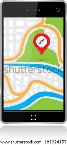 smartphone with a map on display - stock photo