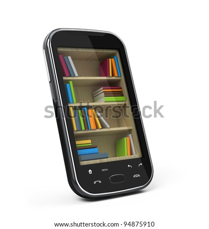Smartphone with bookshelf - e-book library concept - stock photo