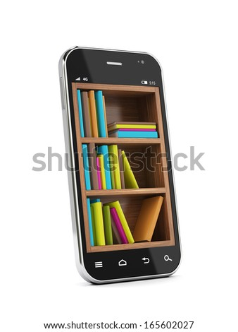 Smartphone with bookshelf. E-book library. Education concept - stock photo