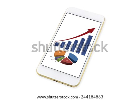 Smartphone with business financial diagram and graph concept on display. isolated on White background - stock photo