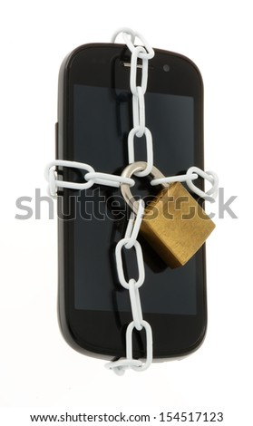 smartphone with chains - stock photo