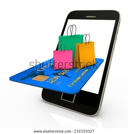 Smartphone with credit card and colorful shopping bags. - stock photo
