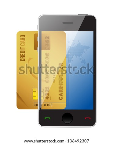 smartphone with credit card, concept digital payment illustration design - stock photo
