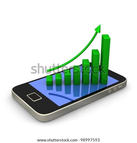 Smartphone with green chart on white background. - stock photo