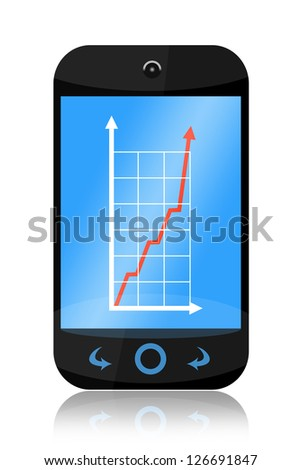 Smartphone with increasing business graph isolated on white background - stock photo