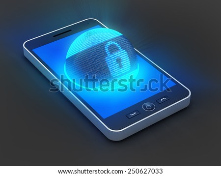Smartphone with lock symbol on globe formed by binary code, 3d render - stock photo