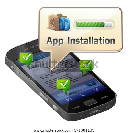 Smartphone with message bubble about app installation. Dialog box pop up over screen of phone. Illustration about smartphone, communication, mobile technology, notification, application prompting, etc - stock photo