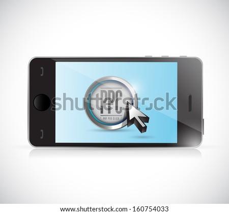 smartphone with pay per click button. ppc concept illustration design - stock photo