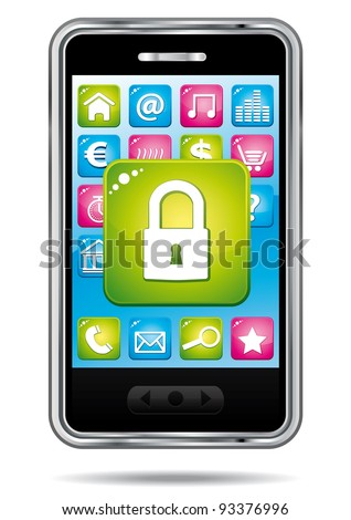 Smartphone with security app icon. Data protection. - stock photo