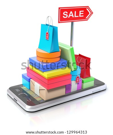 Smartphone with shopping stuff, GPS map and signpost - stock photo