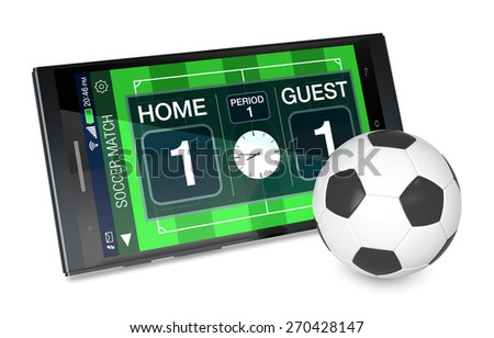 smartphone with soccer field, a score board and a ball, concept of sport and new communication technology (3d render) - stock photo