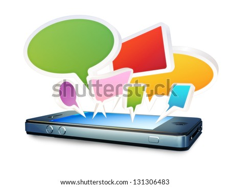 Smartphone with social media chat bubbles or speech bubbles extruding from the screen on a white background - stock photo