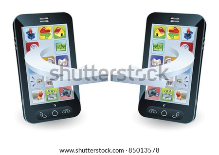 Smartphones communicating via wireless technology concept - stock photo