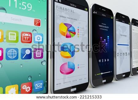 smartphones concept: five smartphones showing different apps - stock photo