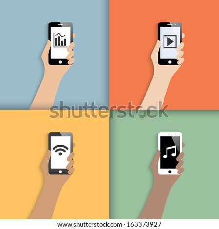 smartphones in hands. icons with shadow.  illustration.(rasterized version) - stock photo