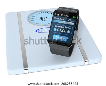 smartwatch with fitness app and a digital bathroom scale (3d render) - stock photo