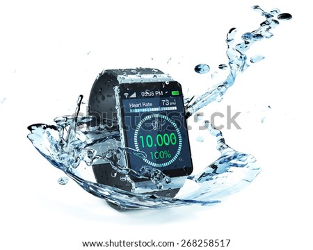 smartwatch with fitness app and water splash around it (3d render) - stock photo