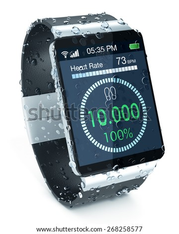 smartwatch with fitness app, covered of water drops, on white background (3d render) - stock photo