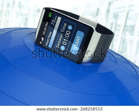smartwatch with fitness app over an exercise ball, blurred background (3d render) - stock photo
