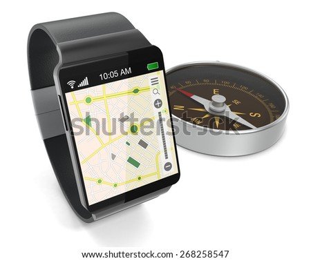 smartwatch with gps navigation app and a compass, on white background (3d render) - stock photo