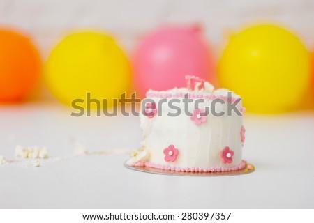 Smashed first birthday cake - stock photo