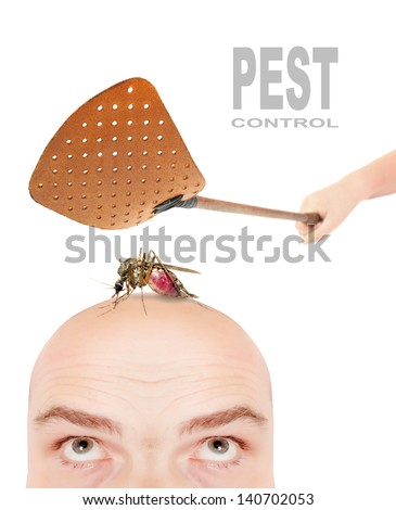 Smashing flyswatter over a sucking mosquito on a men's head. Ecological pest control. Funny picture with space for your text. - stock photo