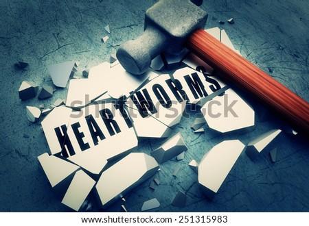 Smashing heartworms - stock photo