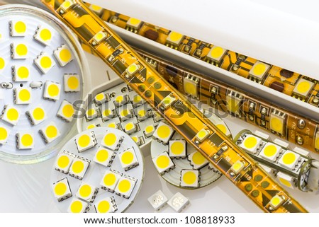 SMD LED-strip cooled and un-cooled also G4 LED-bulbs and separate chips - stock photo