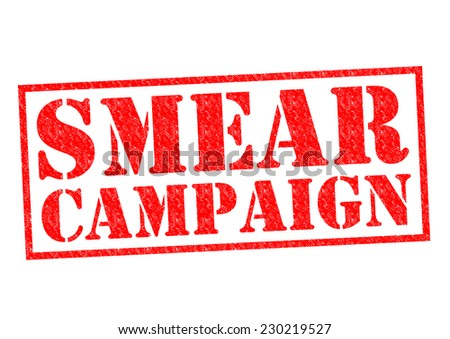 SMEAR CAMPAIGN red Rubber Stamp over a white background. - stock photo