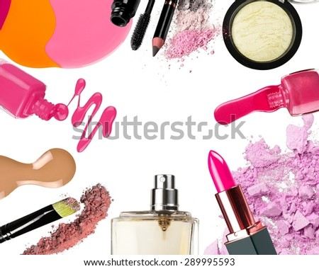 Smear, makeup, lipstick. - stock photo