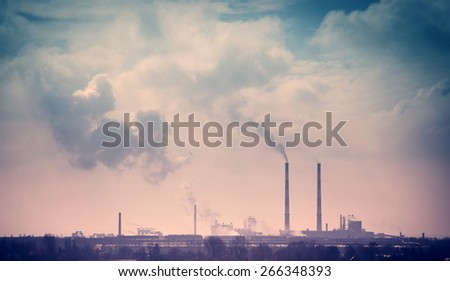 Smelter smoke from the chimneys - pollution from Sendzimir's smelter in Cracow - stock photo